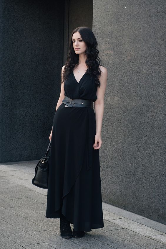 River Island Drape Top / New Look Wrap Maxi Skirt / Pieces Leather Belt…