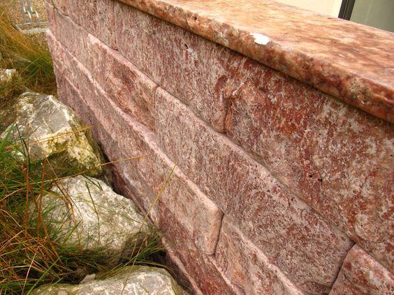 travertin rot mauersteine trockenmauer steinmauer gartenmauer, Garten Ideen