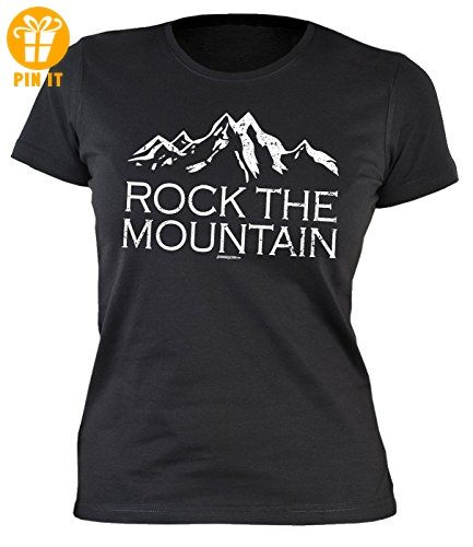 damen t-shirt wandern bergsteigen klettern : rock the mountain