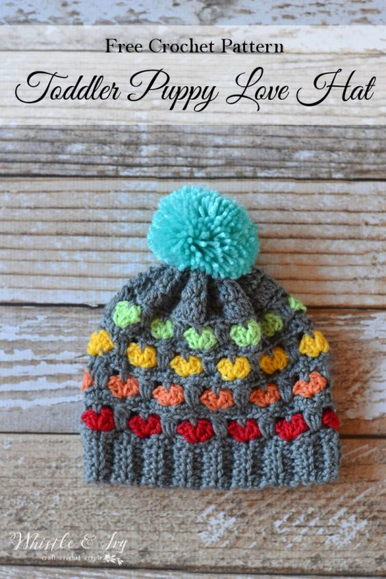 Free Crochet Pattern - Toddler Puppy Love Hat | Make the ever-popular Puppy Love Hat for your little one, too!