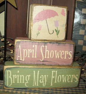 APRIL SHOWERS BRING MAY FLOWERS PRIMITIVE EASTER BLOCK SIGNS SIGN