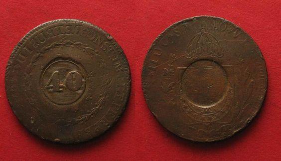 1835 Brasilien BRAZIL 40 Reis ND(1835) - Error INCUSE - RARE!!! # 90973 ss