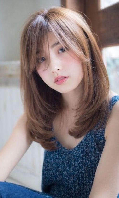 Pin By Kazue Okada On Celebrities Long Hair With Bangs Medium