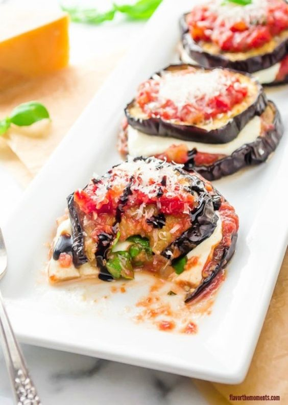 grilled-eggplant-parmesan-stacks - I make these up and heat them on the grill in my cast iron skillet.