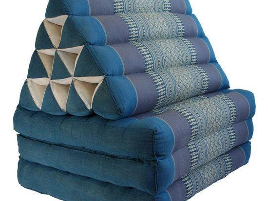Foldout Triangle Thai Cushion 67x21x3 Inches Organic Kapok100 Aqua Triangle Pillow Cushions Pillows