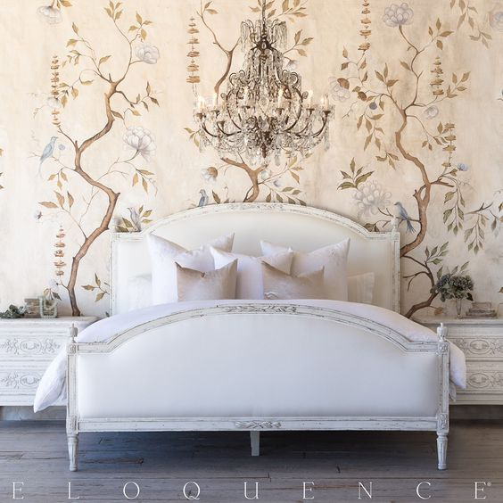Eloquence® Dauphine Queen Bed with elegant Swedish Arching frame. Hand-finished in our Weathered White and upholstered in White Linen. Swedish decor inspiration, French and Gustavian Design Style from Eloquence. #swedish #interiordesign #frenchcountry #gustavian #nordic #decoratingideas #whitedecor #eloquence #furniture