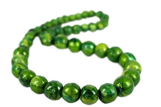 Collier sautoir vert anis