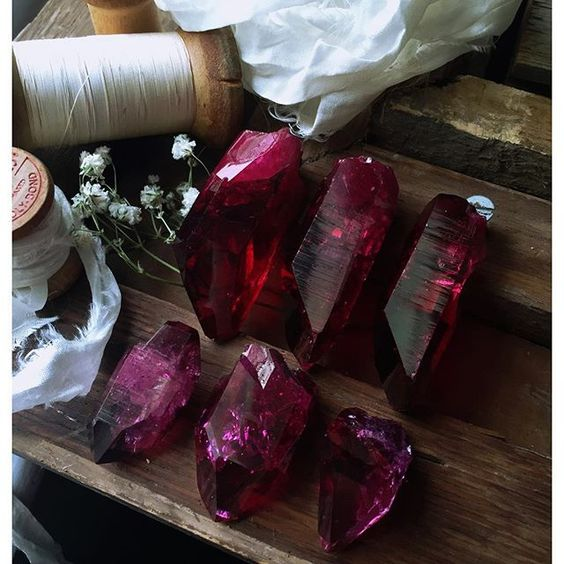 Crystal Intentions ~ Ruby Aura Crystals ༺♡༻ WILD WOMAN SISYERHOOD™ #wildwomansisterhood #crystals