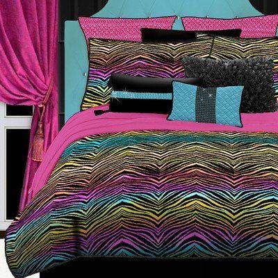 Rainbow Zebra Comforter Set 2 Shams w// Queen Size MultiColor Polyester Brand NEW