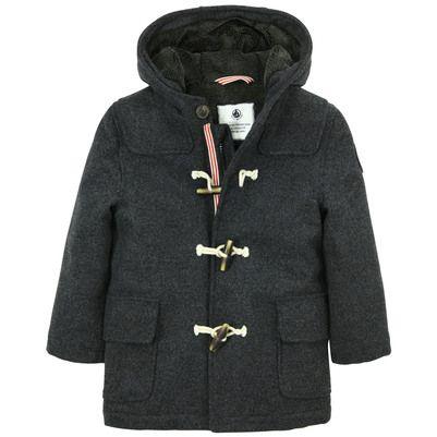 Petit Bateau - Duffle-coat à capuche en drap de laine gris anthracite, doublure en fourrure synthétique - 49754