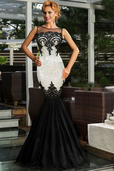 Silver Sequin Applique Multi-Layer Tulle Sweeping Floor Skirt Her Evening Mermaid Dress
