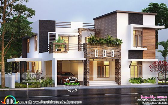 Beautiful Contemporary Style Residence 32 Lakhs Kerala House Design Contemporary House Plans Duplex House Design