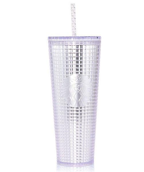 New 2020 Starbucks China Glossy White Stainless Steel Tumbler w// Straw 473 ml