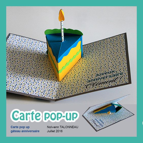 carte pop up anniversaire - 3D gateau d'anniversaire - pop up gateau - carte 3D bougie d'anniversaire