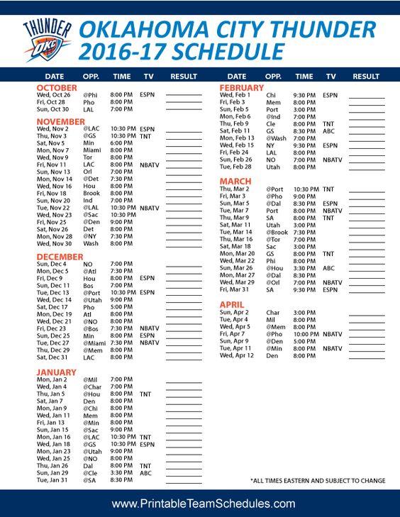 2016 NBA Playoff Schedule