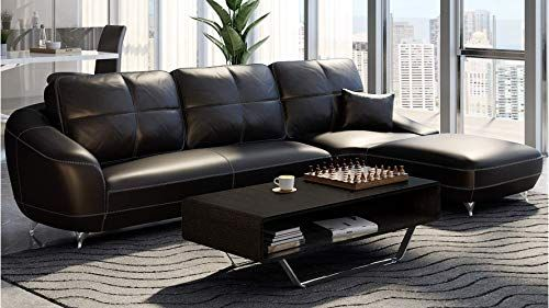 Beautiful Zuri Furniture Modern Black Leather Lucy Sectional Right Chaise Living Room Furniture 3496 5 Topfurnituresh Modern Furniture Sectional Furniture