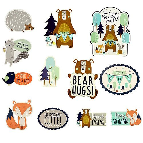 Can Bearly Wait Cutouts 12ct Party City Baby Shower Kit Woodland Animal Baby Shower Fox Baby Shower