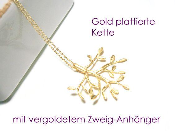 Kette+Zweig+vergoldet+von+DeineSchmuckFreundin+-+Schmuck+und+Accessoires+auf+DaWanda.com