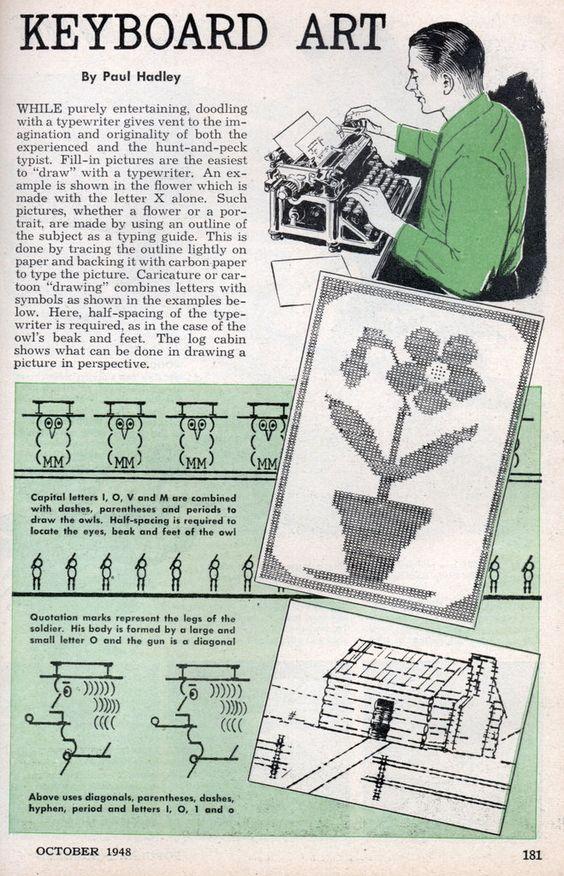 Keyboard #art ASCII Art – 1948 | Modern Mechanix