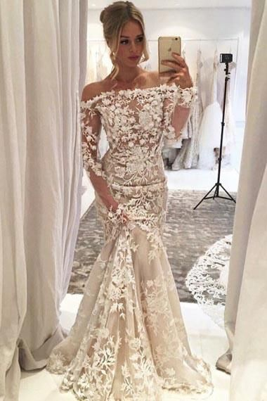 Appliques Off-The-Shoulder Long Sleeves Mermaid Wedding Dress
