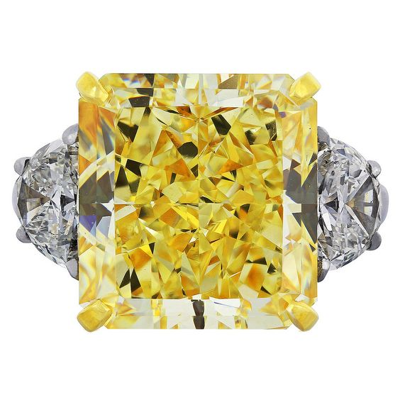 14.63 Carat Fancy Yellow GIA Cert Diamond Gold Ring | From a unique collection of vintage three-stone rings at https://www.1stdibs.com/jewelry/rings/three-stone-rings/