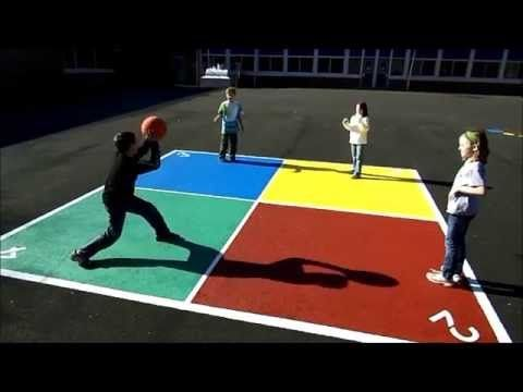 How To Play Four Square Or Box Ball Youtube School Playground Four Square Playground Games