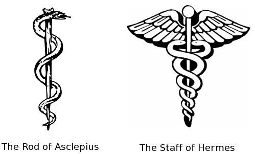 The caduceus is a winged staff with two snakes wrapped around it. It was an ancient astrological symbol of commerce associated with the Greek god Hermes, conductor of the dead and protector of merchants and thieves. In the 7th cent. CE the caduceus was erroneously associated with medicine based on Hermetic astrological principles of trying to use planets and stars to heal the sick. The Rod of Asclepius represents the Greek god Asclepius, who was originally associated with healing and medicine.: