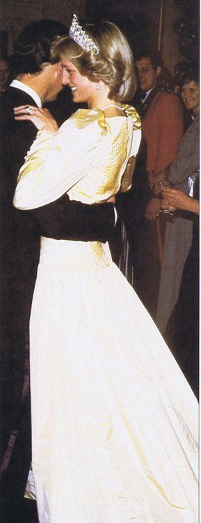 Diana and Charles dancing during a official state function on the New Zealand and Australian tour 1983.