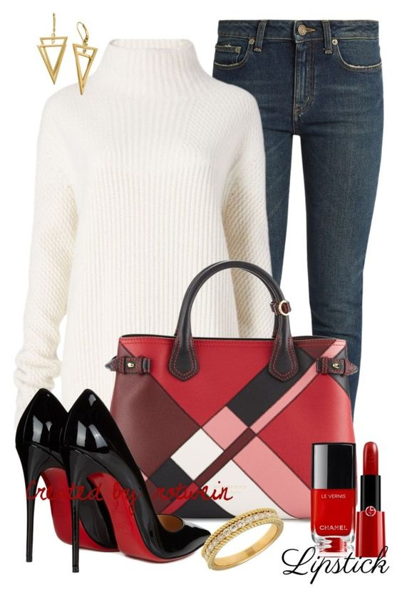 """""""Barbara"""" by rotwein ❤ liked on Polyvore featuring beauty, Yves Saint Laurent, Diane Von Furstenberg, Burberry, Christian Louboutin, Giorgio Armani and Lord & Taylor"""