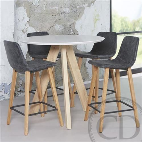 Table haute de cuisine sandinave blanche tree table de for Table avec tabouret cuisine