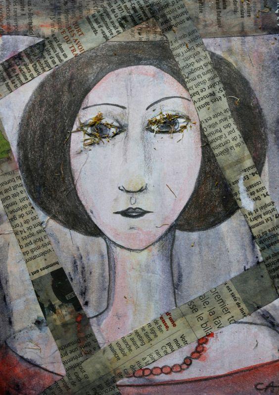 Portrait de femme aux cils blancs : Peintures par cat-crea