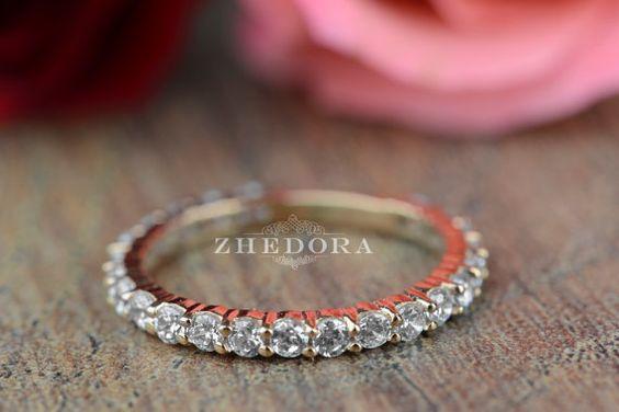 1.10 CT allanar eternidad Set boda compromiso banda por Zhedora