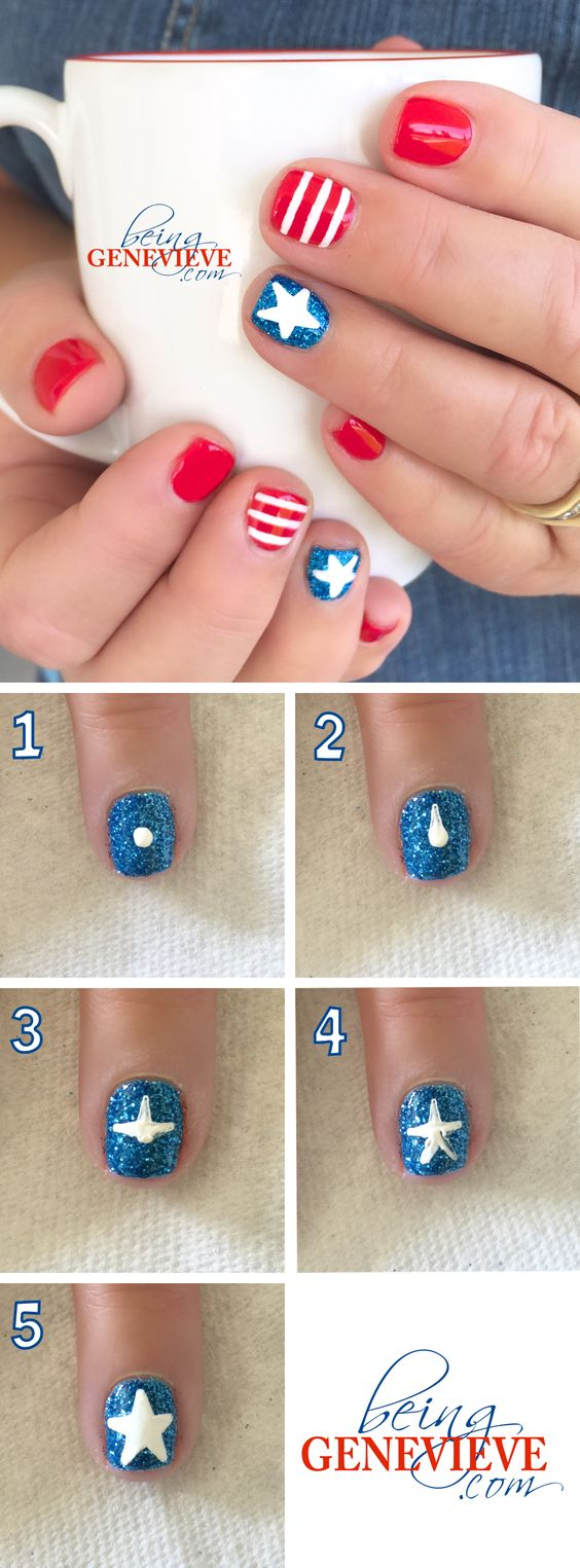 Stars & Stripes | Step-by-step tutorial on how to create this cute and simple patriotic nail art design. This is the perfect manicure for any 4th of July celebration . . .