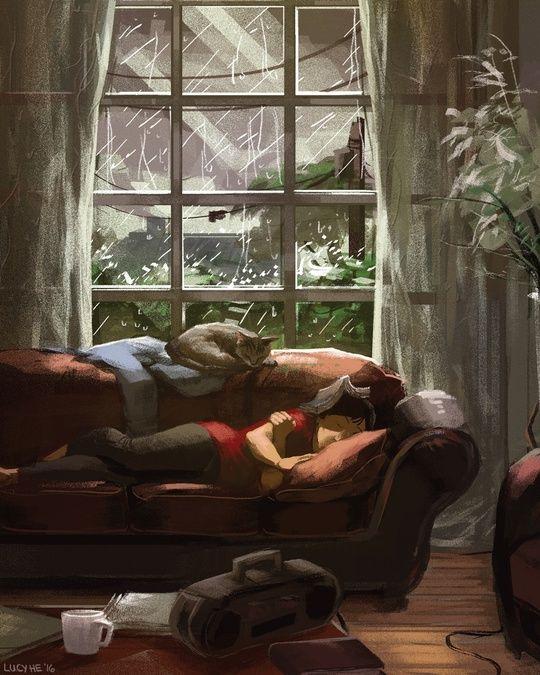 Cozy Rain, an art print by Lucy He - INPRNT