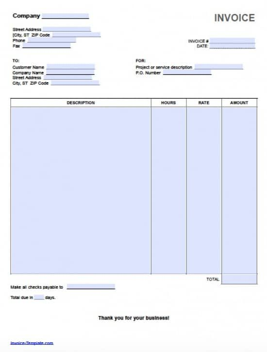 Hourly Invoice Template Free