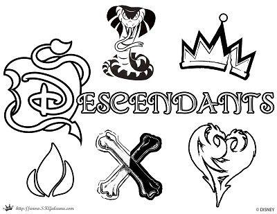 Descendants Coloring Page Logo Disney Channel Movie