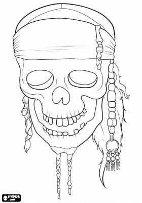 The Skull Of The Film Pirates Of The Caribbean Pirate Coloring Pages Halloween Coloring Sheets Coloring Pages