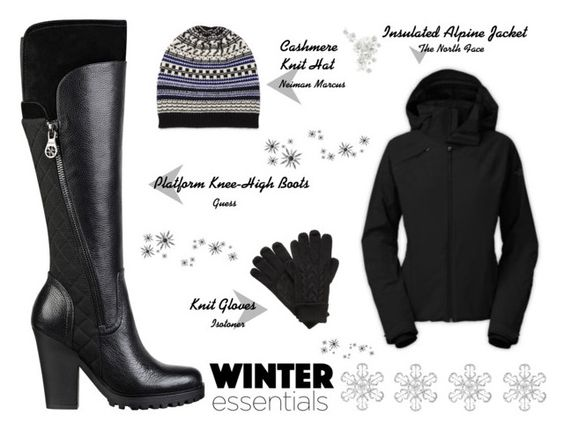 """""""Black winter outerwear set"""" by brooklynbeatz ❤ liked on Polyvore featuring GUESS, Neiman Marcus, Isotoner and The North Face"""