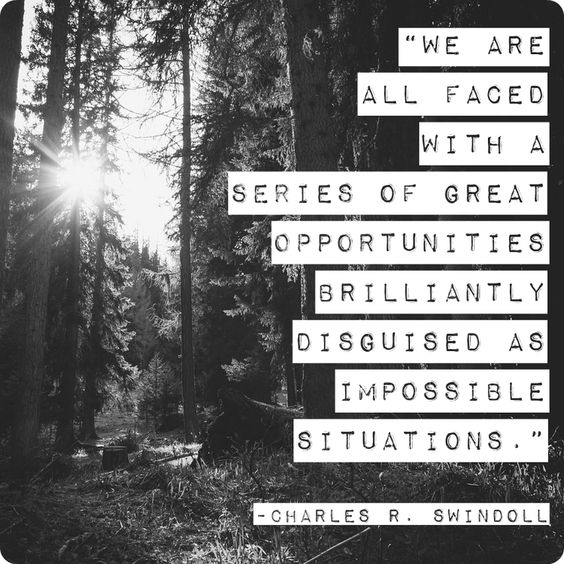 """We are all faced with a series of great opportunities brilliantly disguised as impossible situations."" Charles R. Swindoll  #Quote #Quotes"