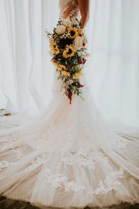 Sunflower Wedding Bouquet Idea Cascading Wedding Bouquet The