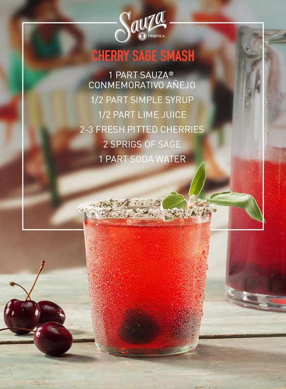 To make this red beauty, just grab some Sauza®, limes, cherries, sage, and a good friend to share with. Explore and share other tequila recipes from our website, us.sauzatequila.com.
