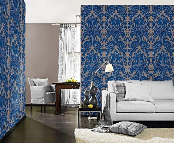 Papel damasco azul para el salón
