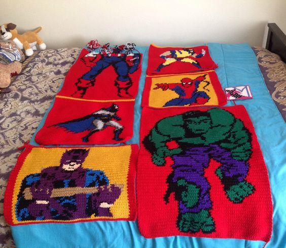 Crochet Pattern For Spiderman Blanket : Crochet Super Hero blanket still working on it Captain ...