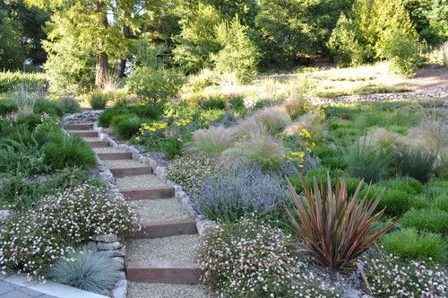 timber and gravel steps