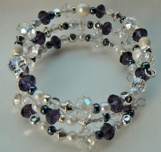 Purple Crystal Bracelet Pearl Silver Bracelet Beaded by mscenna, $15.00