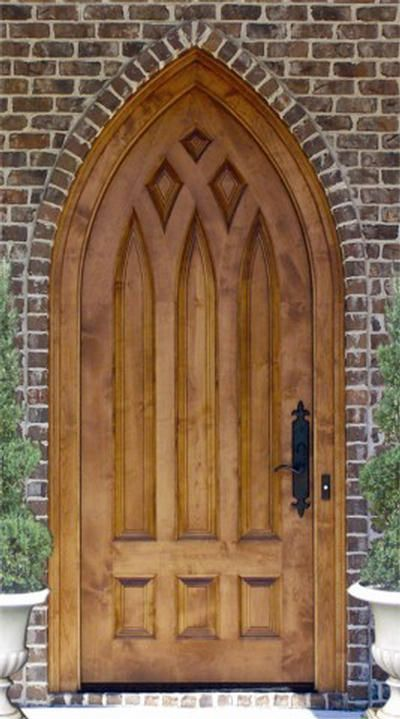 Dbyd 7010 This Over Sized Custom Designed Cathedral Top Church Door Is Built In Knotty Alder