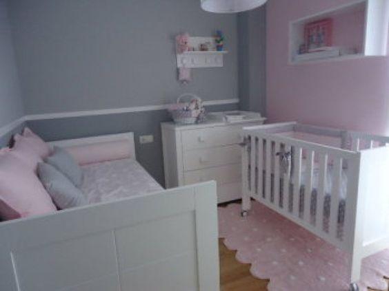 Habitacion infantil blanca y rosa buscar con google for Habitacion lila y blanca
