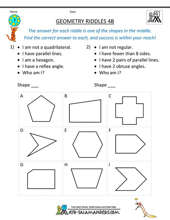 Worksheets 4th Grade Geometry Worksheets httpwww math salamanders comimages4th grade geometry riddles here you will find our worksheets containing from to using these fun will