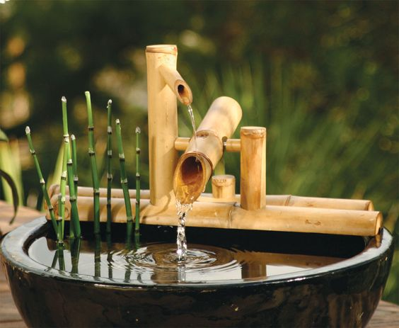 Rocking on arms bamboo water fountain kit bamboo accents for Japanese bamboo water feature