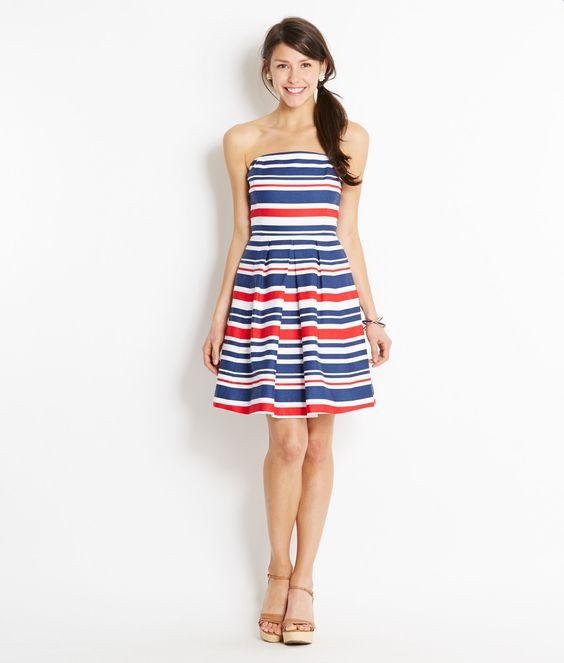 Shop Dresses: Multi-Stripe Strapless Dress for Women  Vineyard ...